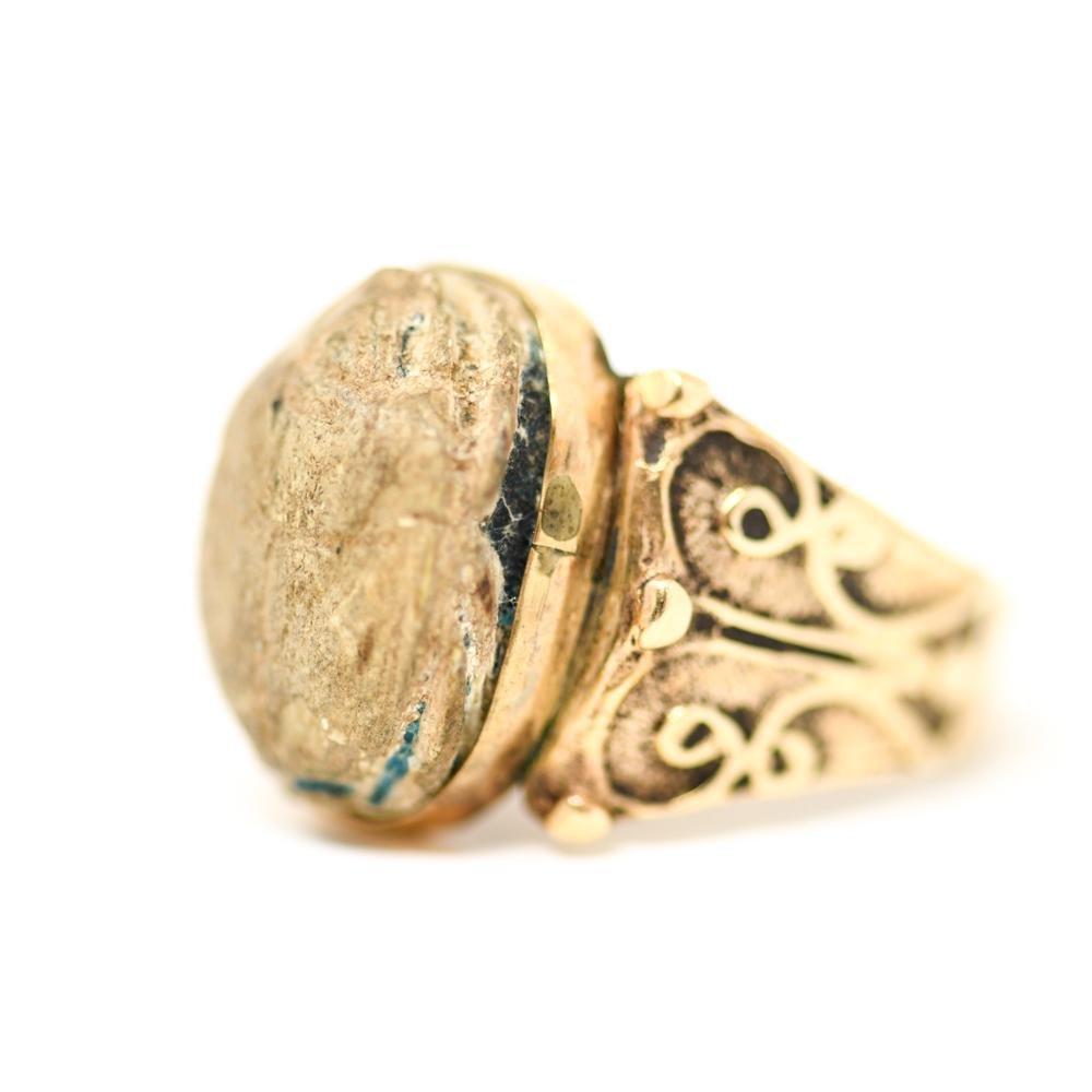 MENS 14K GOLD EGYPTIAN REVIVAL SCARAB RING