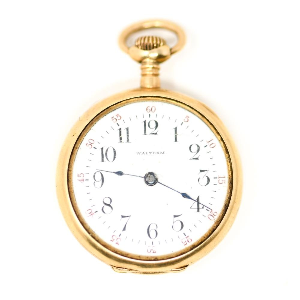 WALTHAM 14K GOLD OPEN FACE POCKET WATCH
