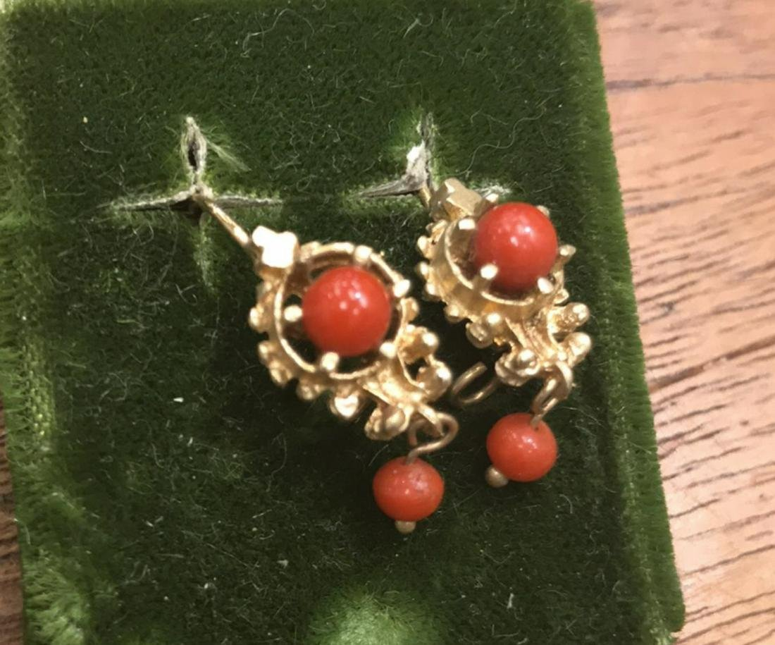 ANTIQUE SMALL 14K GOLD & CORAL EARRINGS
