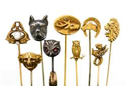 (8) ANTIQUE ANIMAL STICK PINS INCL GOLD