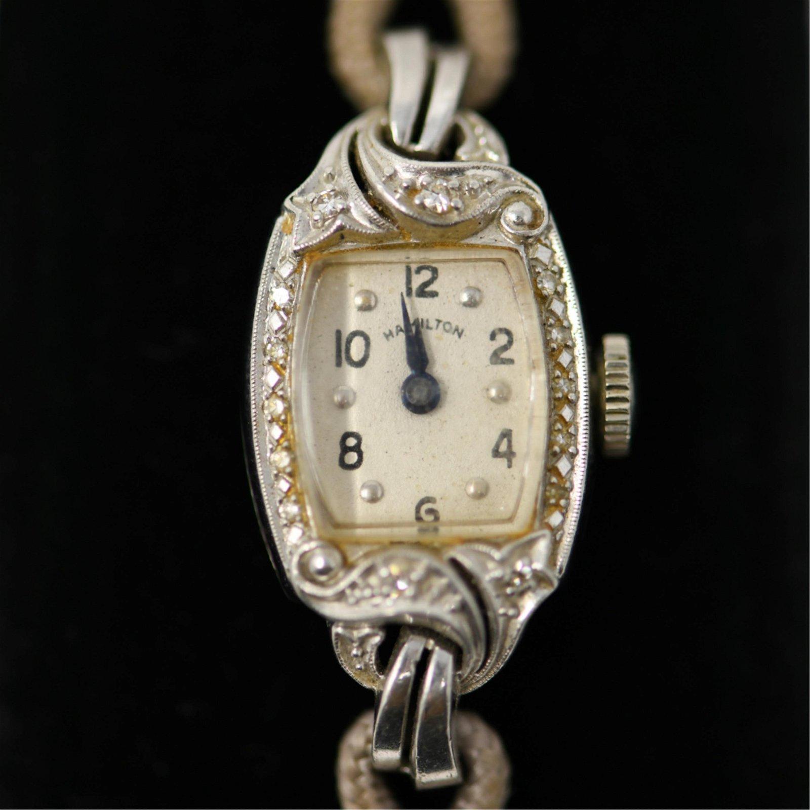 LADIES PLATINUM & DIAMOND HAMILTON WRIST WATCH