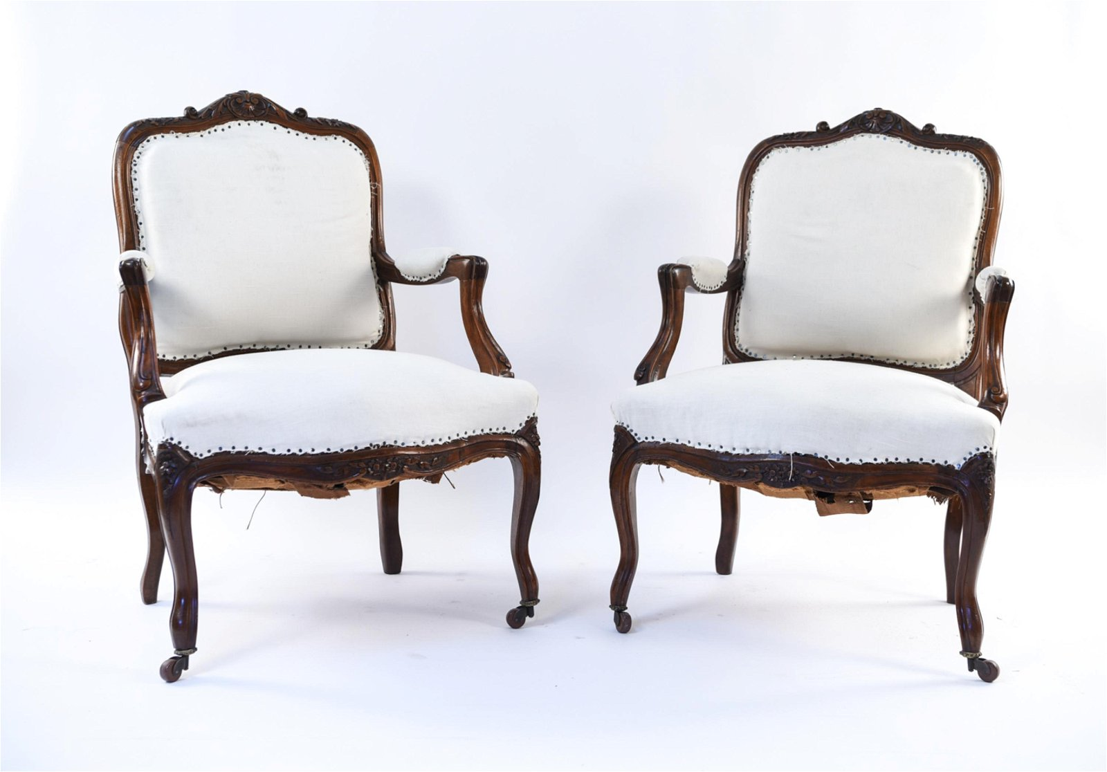 PAIR OF FRENCH LOUIS XV STYLE FAUTEUIL CHAIRS