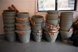 LARGE GROUPING CERAMIC PLANTERS