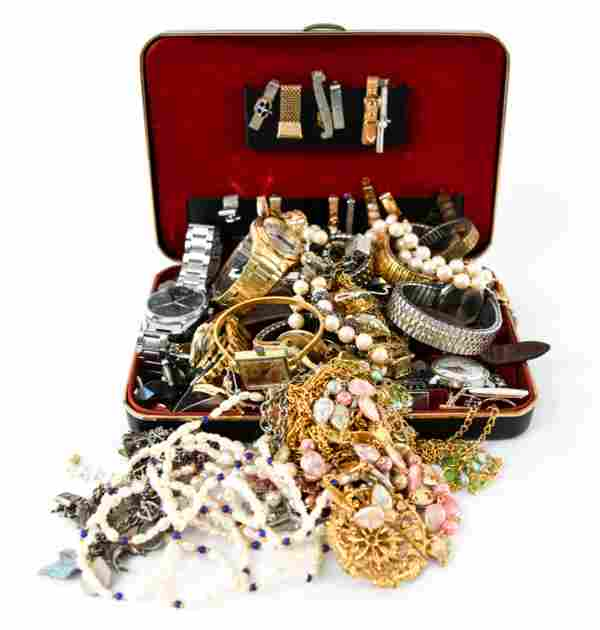 GROUPING INCL. COSTUME JEWELRY, WATCHES, COINS