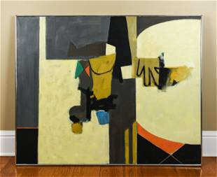 LIONEL GILBERT ABSTRACT O/C PAINTING C. 1969
