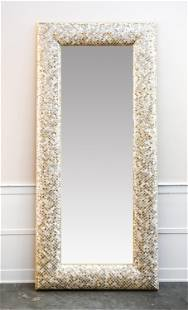 LARGE MOTHER OF PEARL MOSAIC FRAME MIRROR