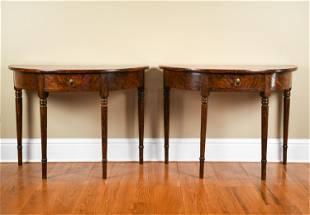 PAIR 19TH C. INLAID SUN DEMILUNE CONSOLE TABLES