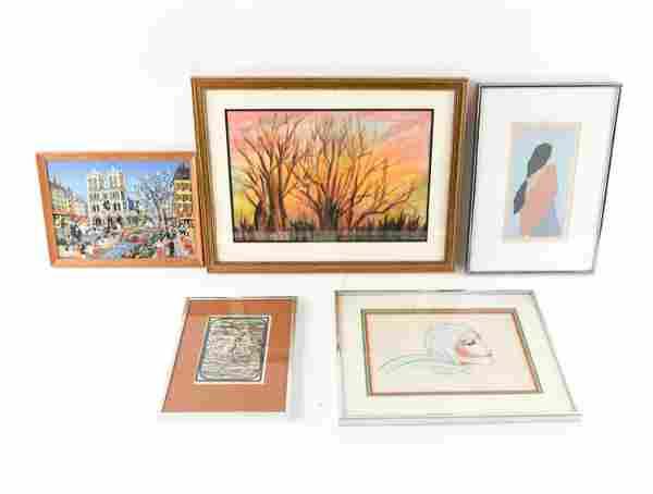 (5) MODERN ART GROUPING VARIOUS MEDIA