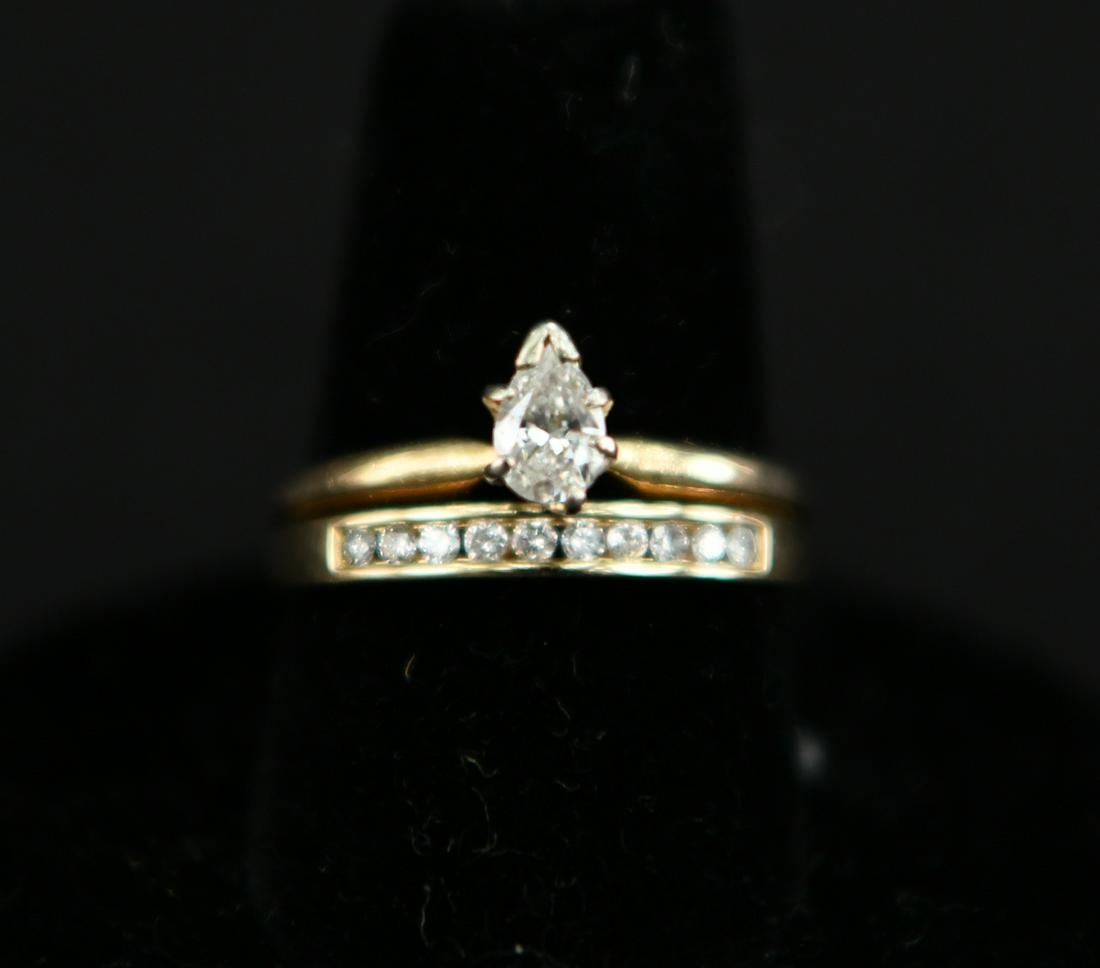 14K GOLD & DIAMOND ENGAGEMENT RING & BAND