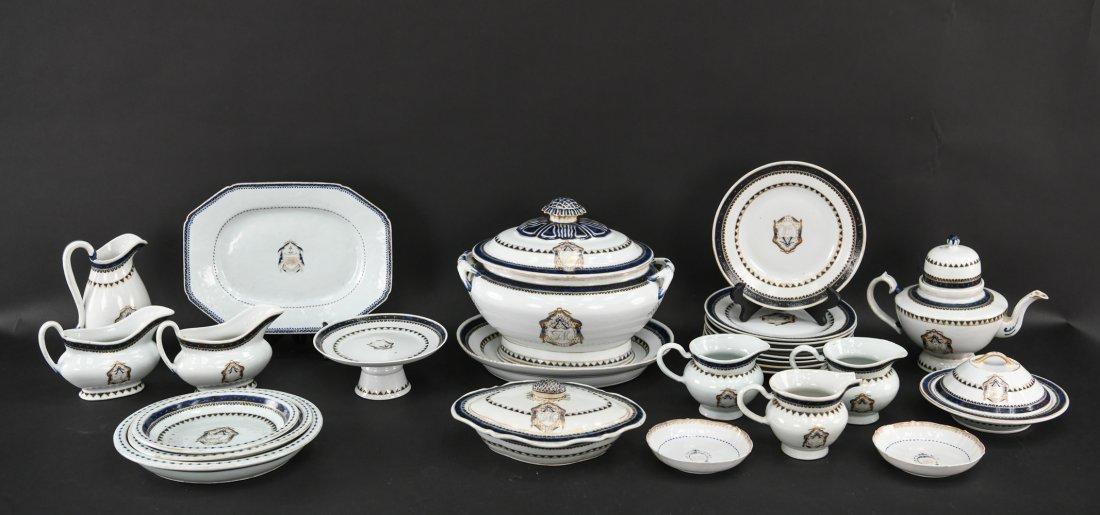 EXTENSIVE SET CHINESE EXPORT ARMORIAL PORCELAIN