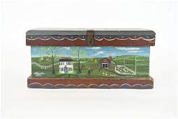 FOLK ART PAINTED ANTIQUE BOX