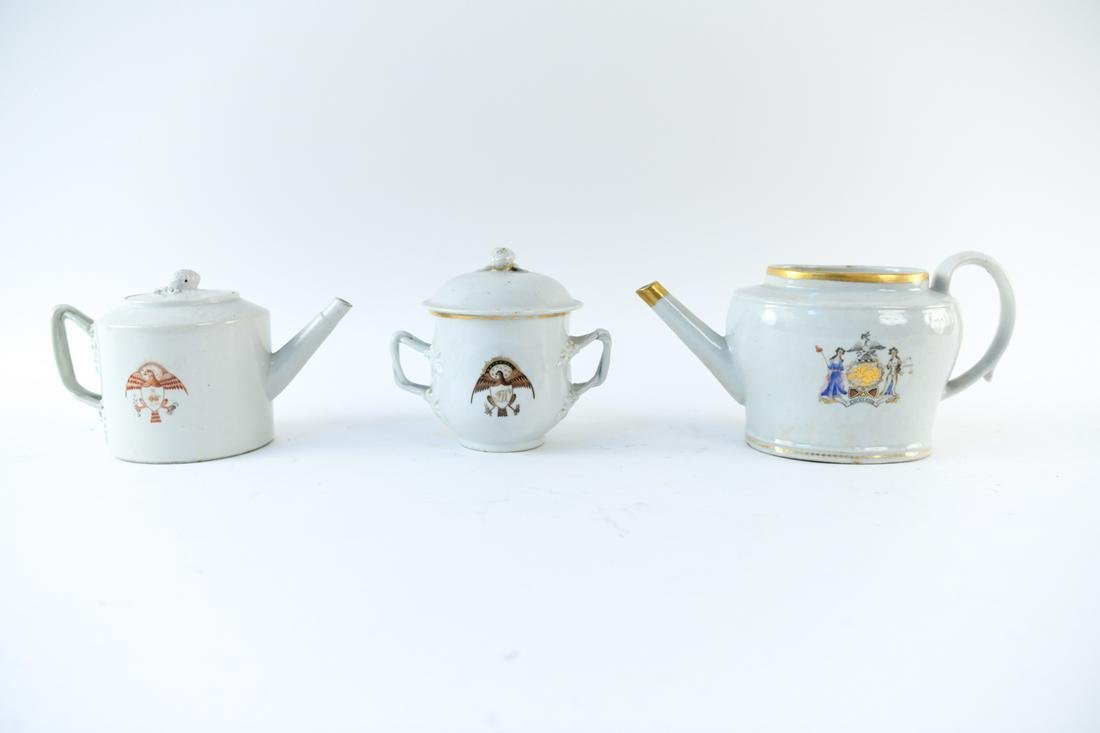 (3) CHINESE EXPORT AMERICAN MARKET TEAPOTS, ETC.