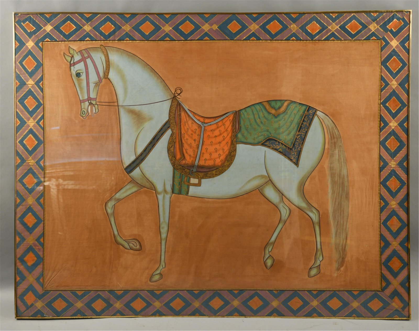 LARGE HORSE PAINTING ON FABRIC