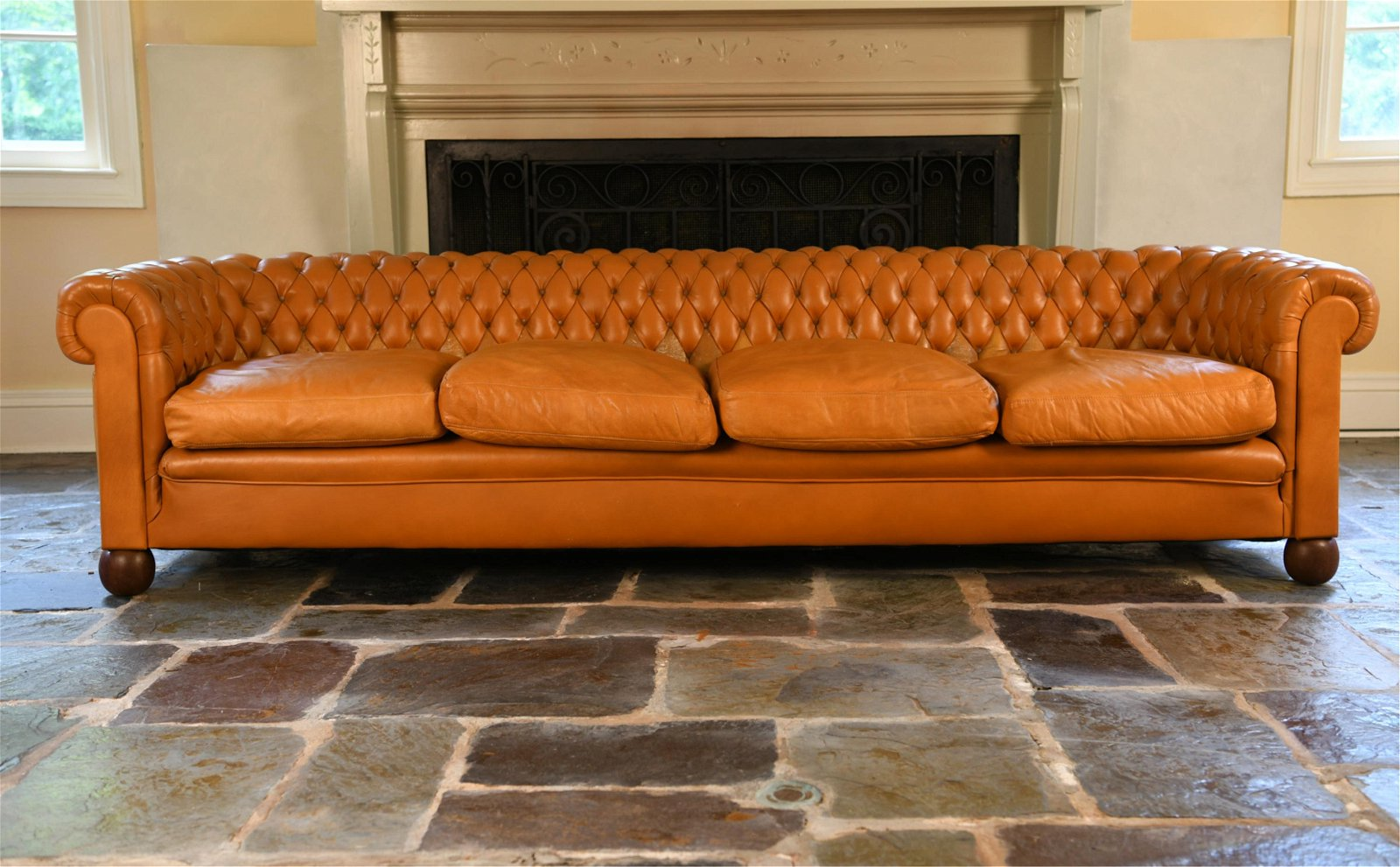 VINTAGE CHESTERFIELD BUTTERSCOTCH LEATHER SOFA