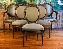 6 FRENCH LOUIS XVI STYLE DINING CHAIRS