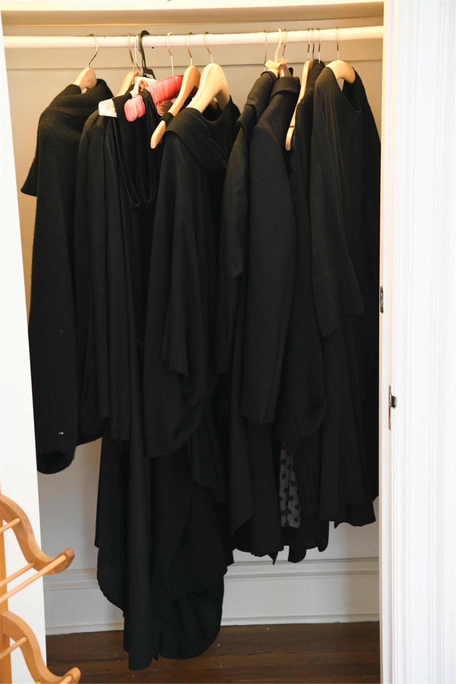 LARGE GROUPING OF DESIGNER BLACK CLOTHING
