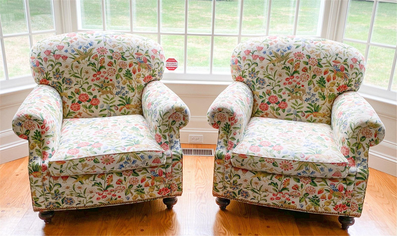 PAIR LOUNGE CHAIRS W/ ANIMAL & FLOWER UPHOLSTERY