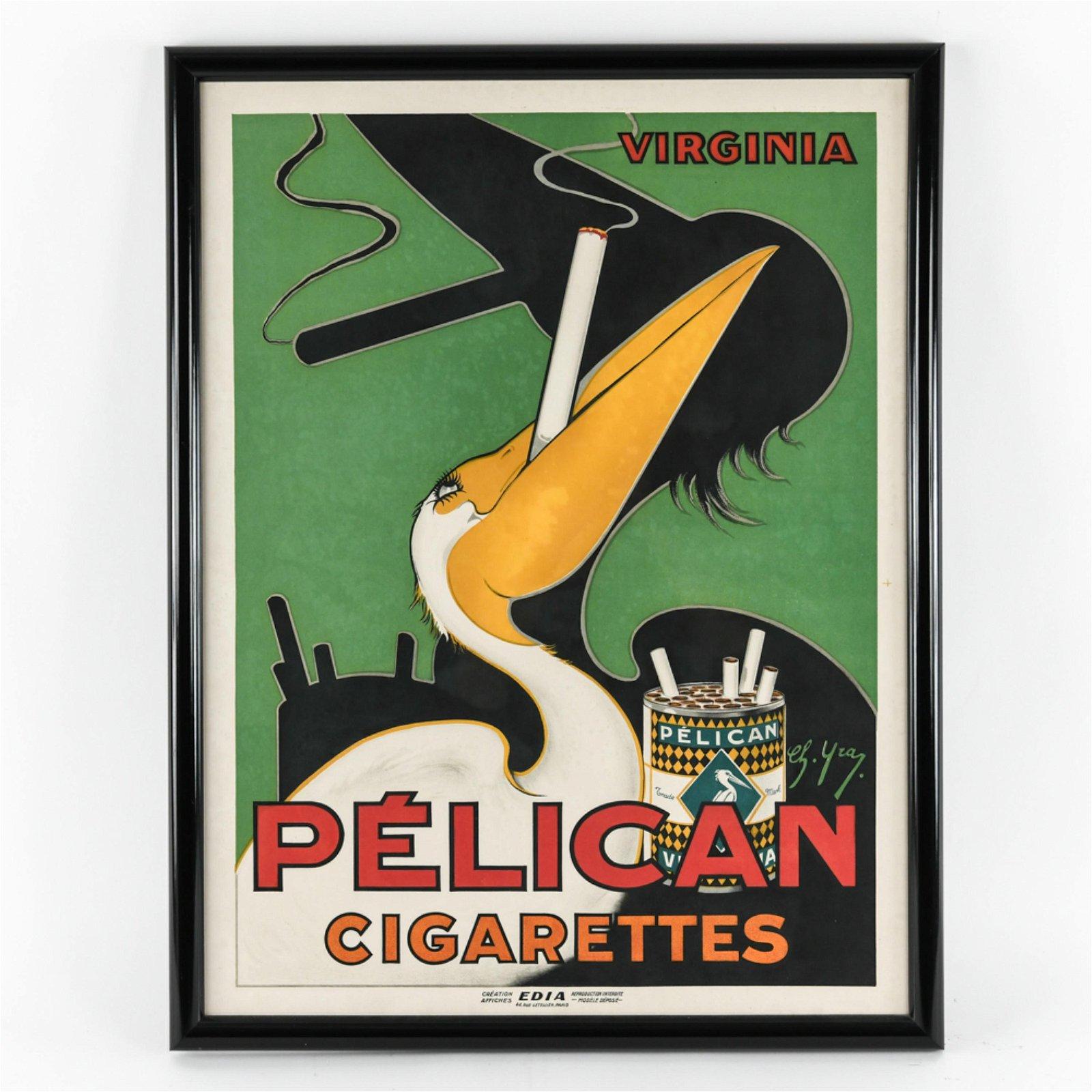 FRENCH ART DECO PELICAN CIGARETTES POSTER