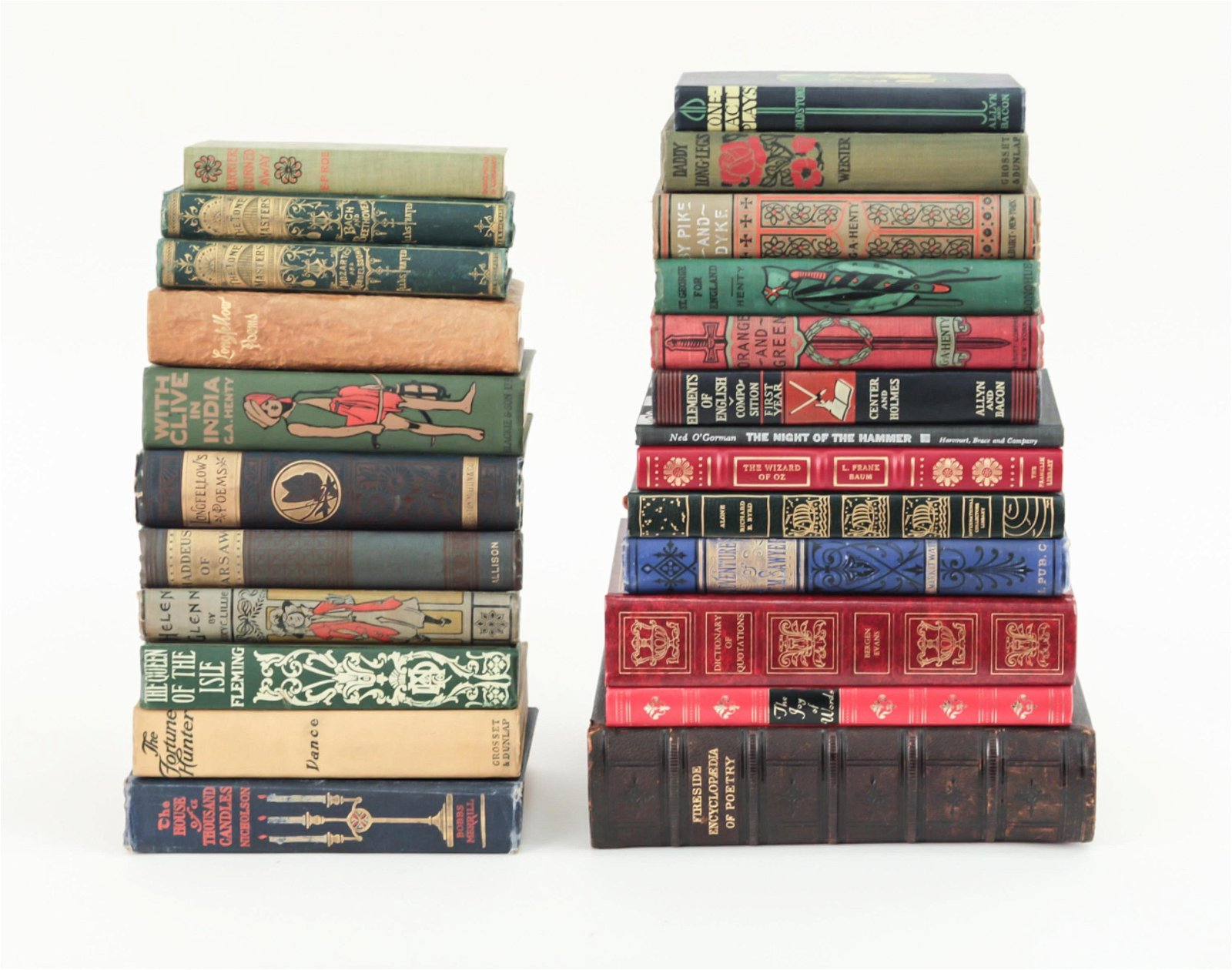 GROUPING OF LEATHER & LINEN BOUND BOOKS