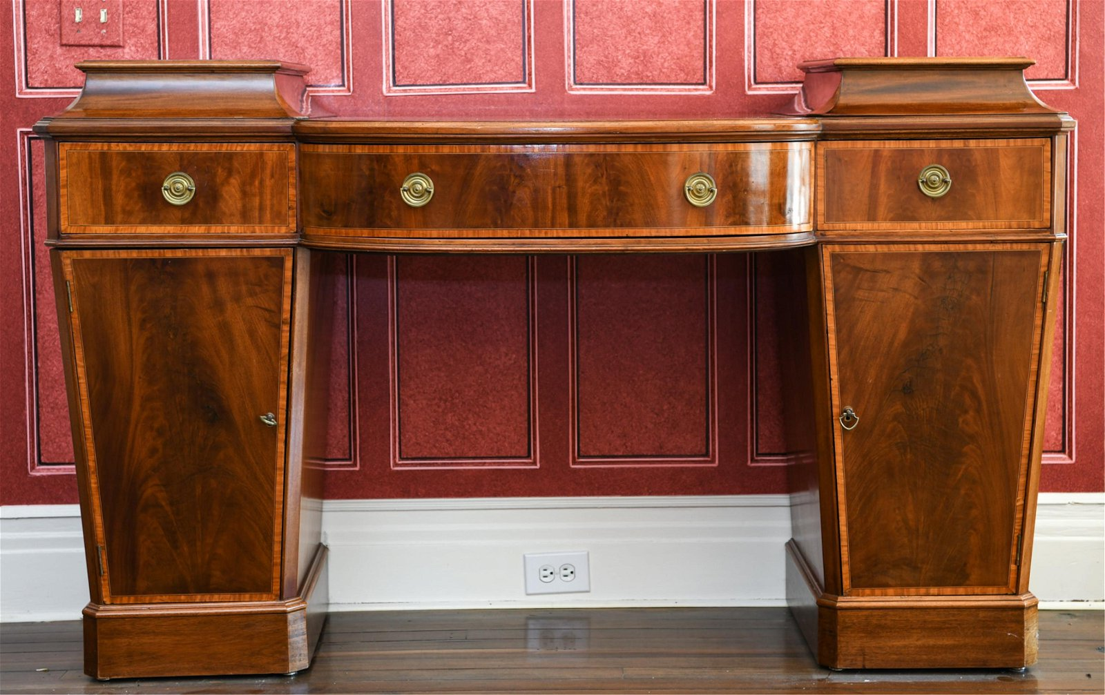 ENGLISH 19TH C GEORGE III STYLE MAHOGANY SIDEBOARD
