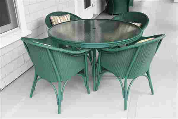 LLOYD LOOM OUTDOOR WICKER STYLE TABLE AND CHAIRS