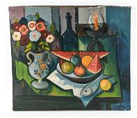 MODERN STILL LIFE OIL ON CANVAS