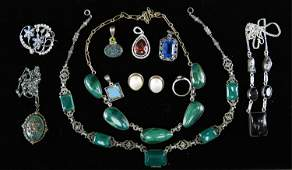 STERLING SILVER JEWELRY GROUPING INCL ANTIQUE