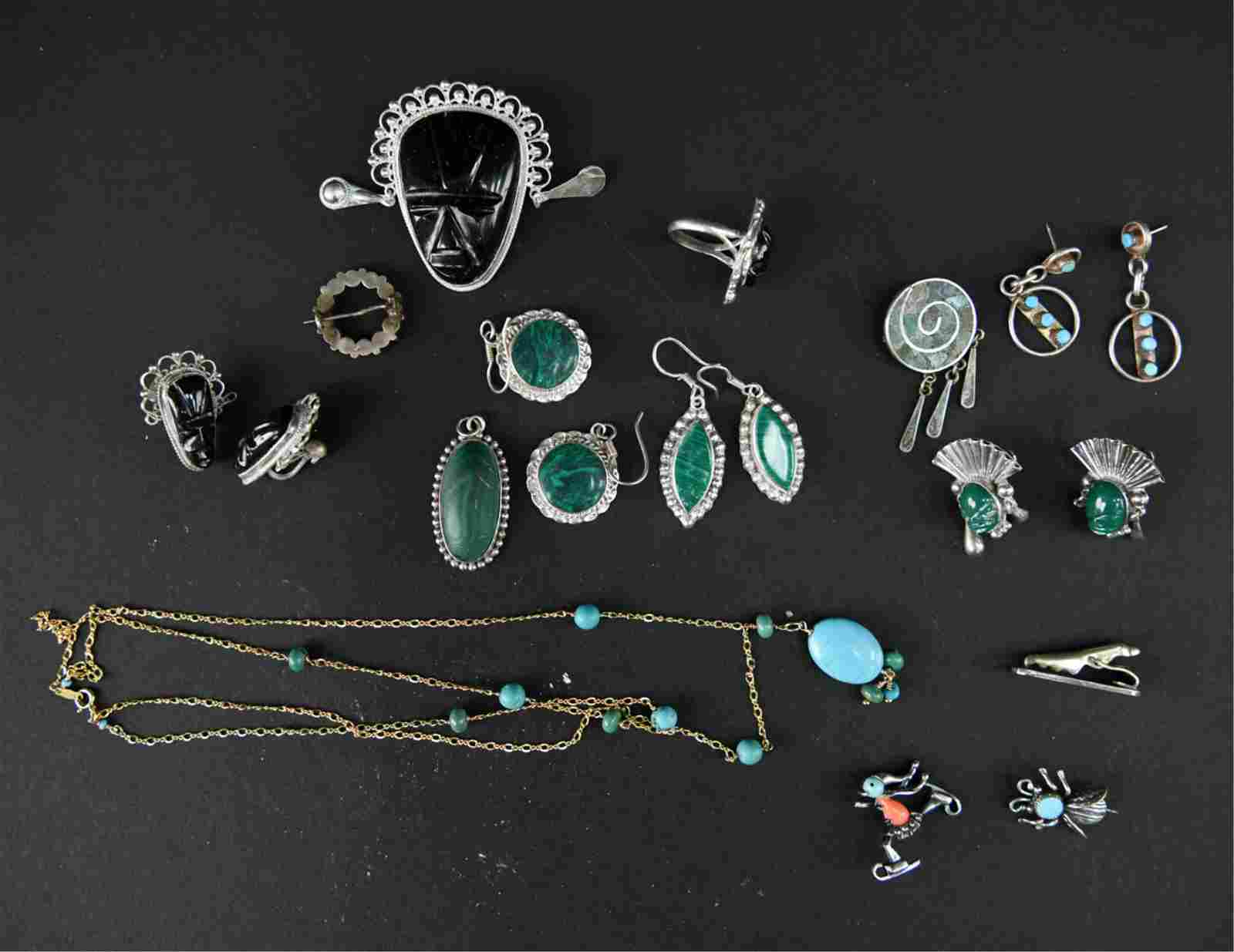 STERLING SILVER & STONE JEWELRY GROUPING