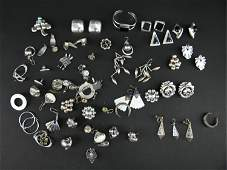 VINTAGE STERLING SILVER EARRING GROUPING