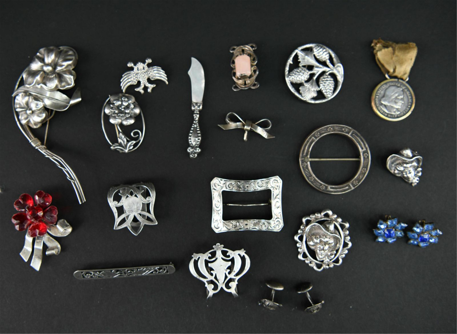 STERLING SILVER JEWELRY GROUPING INCL VINTAGE