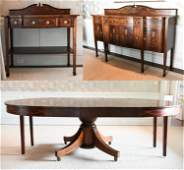 FEDERAL STYLE INLAID MAHOGANY DINING ROOM SUITE