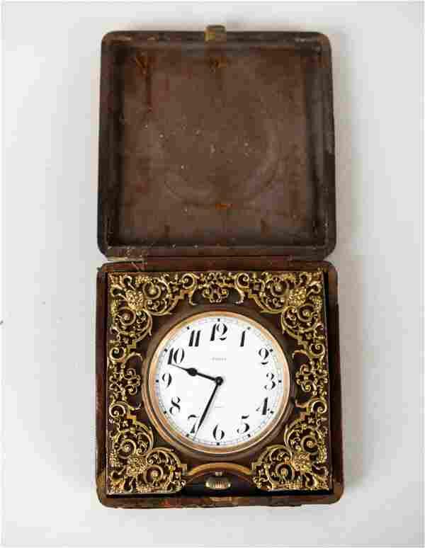 ANTIQUE CASED TRAVEL CLOCK
