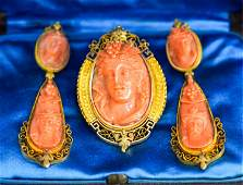 ANTIQUE 14K GOLD AND CORAL CAMEO JEWELRY