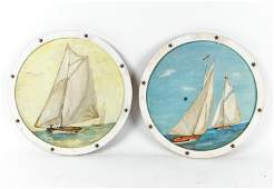PAIR OF VINTAGE FOLK ART SAILING SHIP PAINTINGS