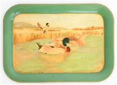 VINTAGE HAND PAINTED DUCK TRAY