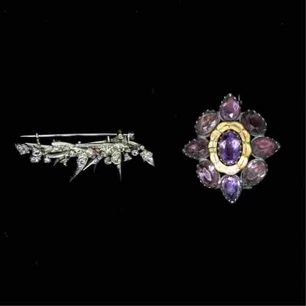 GROUPING OF ANTIQUE BROOCHES INCL. DIAMONDS