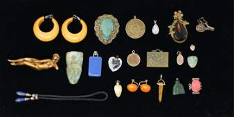 GROUPING OF ANTIQUE JEWELRY FINDINGS & OBJECTS