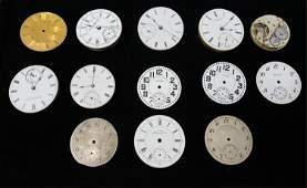GROUPING OF ANTIQUE POCKET WATCH MOVEMENTS & DIALS