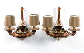 PAIR OF DONGHIA LUNA 2ARM ITALIAN GLASS SCONCES