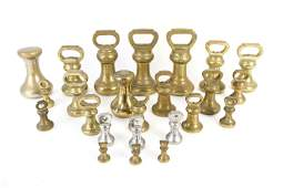 ANTIQUE BRASS APOTHECARY SCALE WEIGHT GROUPING