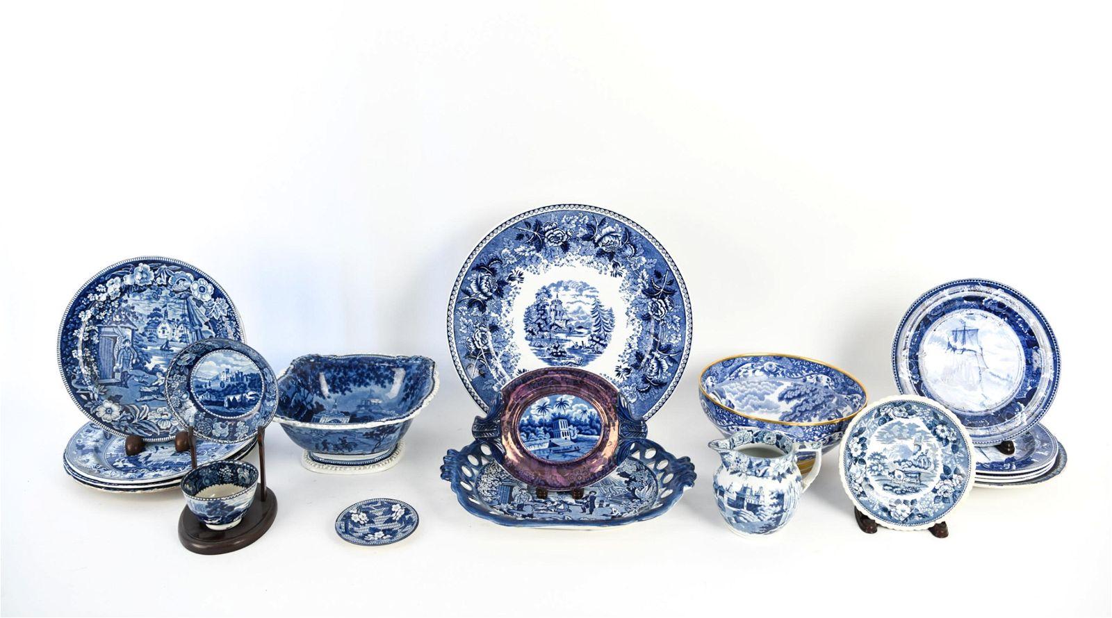 GROUPING OF ANTIQUE BLUE & WHITE CERAMICS