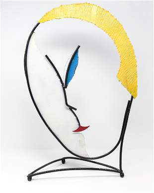 CURTIS JERE ABSTRACT FACE SCULPTURE