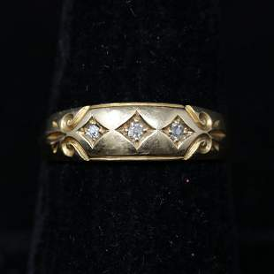 ENGLISH 18K GOLD AND DIAMOND RING