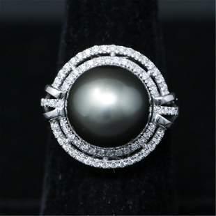 PLATINUM TAHITIAN PEARL & DIAMOND RING