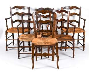 (6) FRENCH PROVINCAL STYLE LADDER BACK CHAIRS