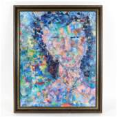 TOBY HELLER MODERN ABSTRACT OIL ON CANVAS PORTRAIT