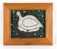 MODERN HAITIAN FOLK ART OIL ON MASONITE OF HEN