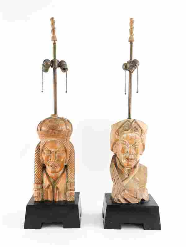 PAIR OF CARVED CHINESE FIGURE LAMPS