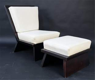 CONTEMPORARY MATT DECELL LEATHER CHAIR AND OTTOMAN