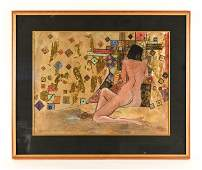 FORTSON DARBY NUDE WATERCOLOR MIXED MEDIA PAINTING